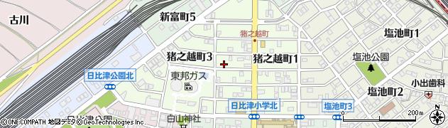 愛知県名古屋市中村区猪之越町周辺の地図