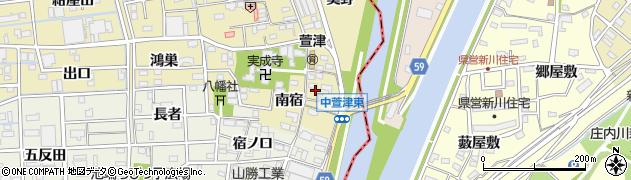 愛知県あま市中萱津(南宿)周辺の地図