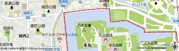 愛知県名古屋市中区本丸周辺の地図