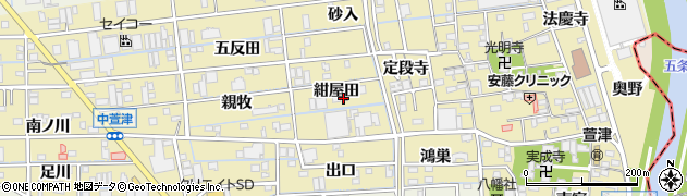 愛知県あま市中萱津(紺屋田)周辺の地図