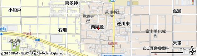 愛知県津島市蛭間町(西屋敷)周辺の地図