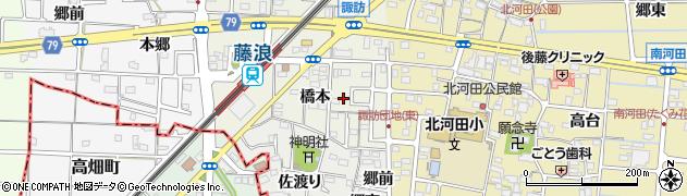 愛知県愛西市諏訪町(橋本)周辺の地図