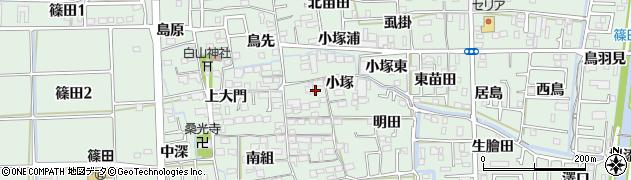 愛知県あま市篠田小塚周辺の地図