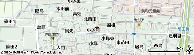 愛知県あま市篠田小塚浦周辺の地図