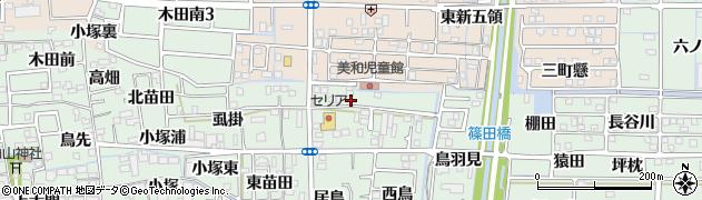 愛知県あま市篠田(新割)周辺の地図