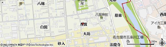愛知県あま市上萱津左渡周辺の地図