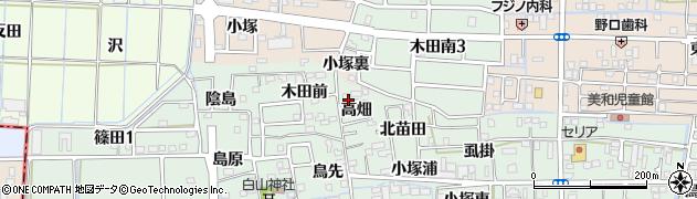 愛知県あま市篠田高畑周辺の地図
