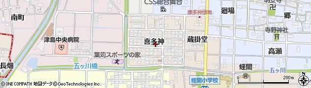 愛知県津島市蛭間町(喜多神)周辺の地図