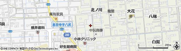 愛知県あま市上萱津北ノ川周辺の地図