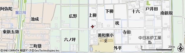 愛知県あま市木折上柳周辺の地図