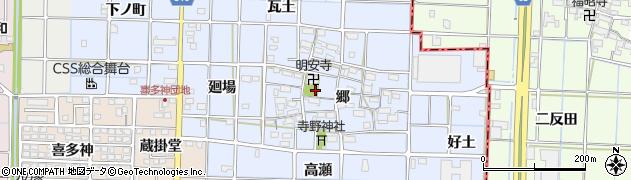 愛知県津島市寺野町(郷)周辺の地図