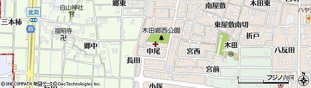 愛知県あま市木田申尾周辺の地図