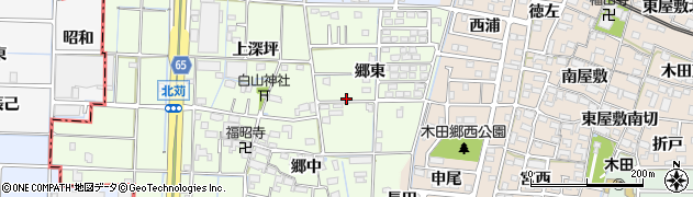 愛知県あま市北苅郷東周辺の地図