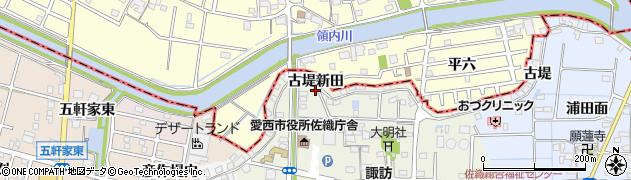 愛知県愛西市諏訪町(古堤新田)周辺の地図