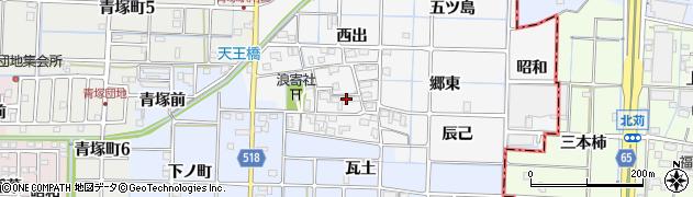 愛知県津島市牧野町(浪寄)周辺の地図