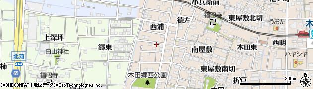 愛知県あま市木田(西浦)周辺の地図