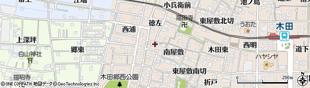愛知県あま市木田(徳左)周辺の地図