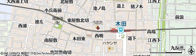 愛知県あま市木田(西明)周辺の地図