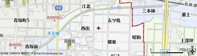 愛知県津島市牧野町(五ツ島)周辺の地図