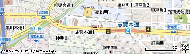愛知県名古屋市北区志賀本通周辺の地図