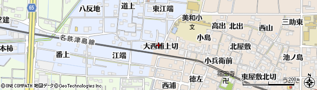 愛知県あま市木田(大西浦上切)周辺の地図