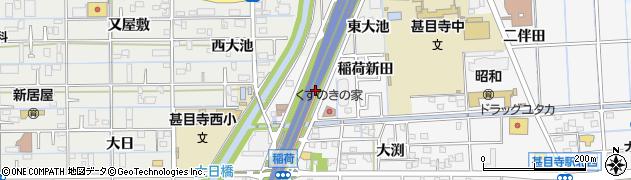 愛知県あま市甚目寺(稲荷新田)周辺の地図