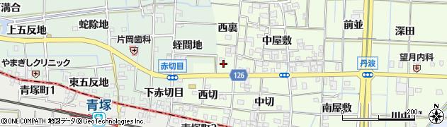 愛知県あま市丹波西裏周辺の地図