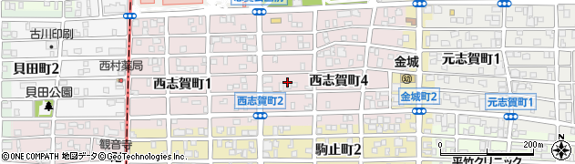 愛知県名古屋市北区西志賀町周辺の地図