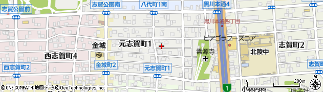 愛知県名古屋市北区元志賀町周辺の地図
