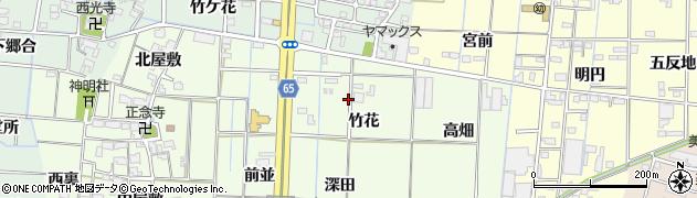 愛知県あま市丹波竹花周辺の地図