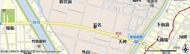 愛知県稲沢市平和町東城(岩名)周辺の地図