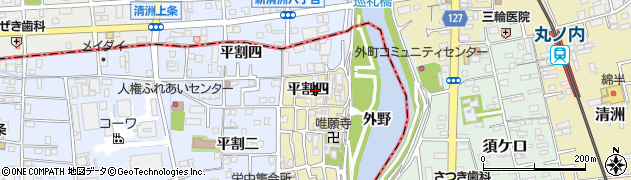 愛知県あま市栄(平割四)周辺の地図