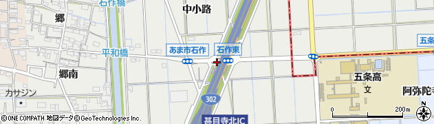 愛知県あま市石作(阿弥陀寺)周辺の地図