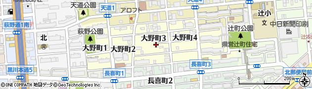 愛知県名古屋市北区大野町周辺の地図