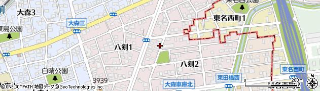 愛知県名古屋市守山区八剣周辺の地図