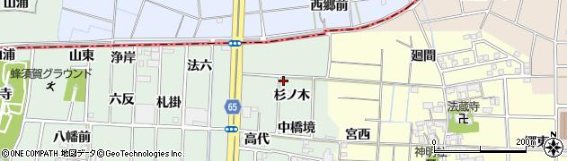 愛知県あま市蜂須賀(杉ノ木)周辺の地図