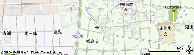 愛知県あま市二ツ寺観音寺周辺の地図