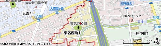 愛知県尾張旭市東名西町周辺の地図