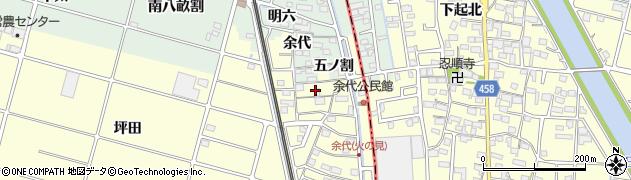 愛知県愛西市大野山町(元余代)周辺の地図