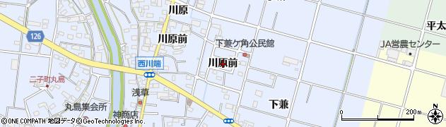 愛知県愛西市西川端町(川原前)周辺の地図