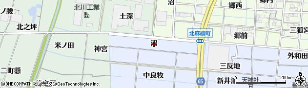 愛知県稲沢市南麻績町(沼)周辺の地図