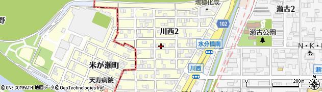 愛知県名古屋市守山区川西周辺の地図