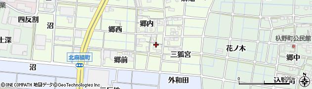 愛知県稲沢市北麻績町周辺の地図