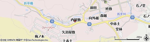 愛知県豊田市折平町(内屋敷)周辺の地図
