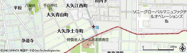 愛知県稲沢市大矢町(栢)周辺の地図