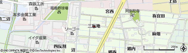 愛知県稲沢市北麻績町(三反地)周辺の地図