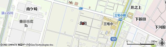 愛知県稲沢市平和町下三宅(北出)周辺の地図
