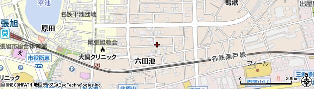 愛知県尾張旭市北原山町(六田池)周辺の地図