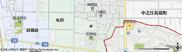 愛知県稲沢市中之庄町周辺の地図