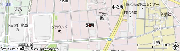 愛知県稲沢市福島町(沢西)周辺の地図